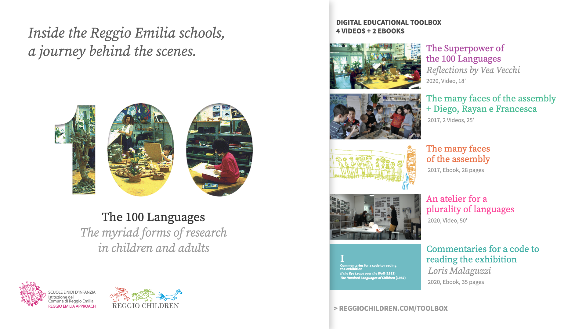 Inside the Reggio Emilia schools, a journey behind the scenes. The myriad forms of research in children and adults.